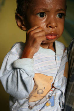 A young boy with malaria
